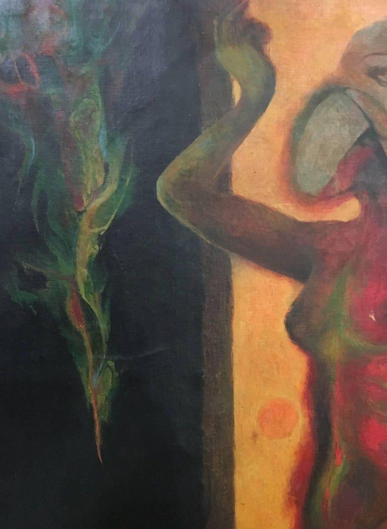 A painting of prominent Mexican Artis Guillermo Meza, (1917-1997), titled Eva y la Serpiente (Haiti Chérie ), representing a woman figure in Meza's almost surrealist typical style.