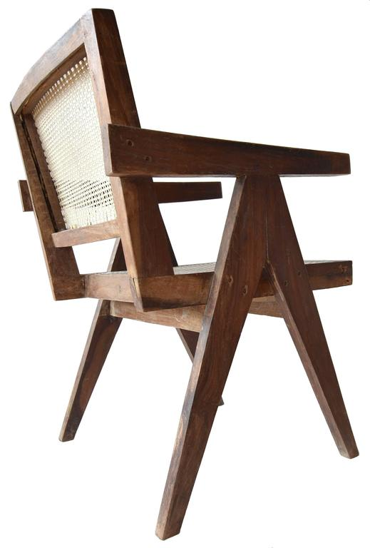 Mid-Century Modern Exceptional Unrestored Pierre Jeanneret Armchair for Chandigarh  For Sale