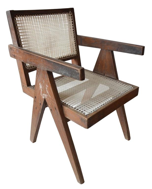 Mid-20th Century Exceptional Unrestored Pierre Jeanneret Armchair for Chandigarh  For Sale