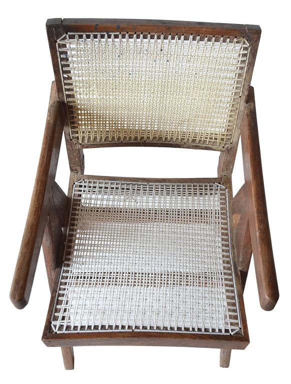 Teak Exceptional Unrestored Pierre Jeanneret Armchair for Chandigarh  For Sale