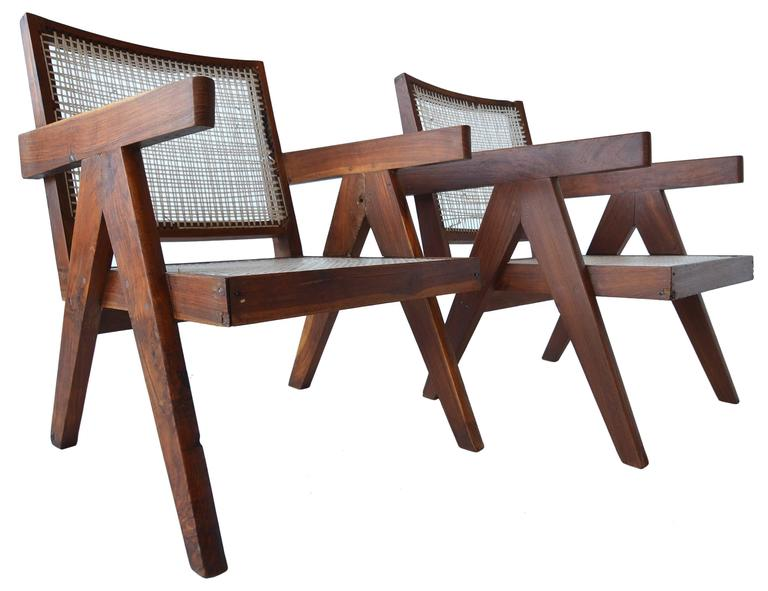 Pair of Pierre Jeannette Easy Lounge Chairs from Chandigarh, circa 1956 2