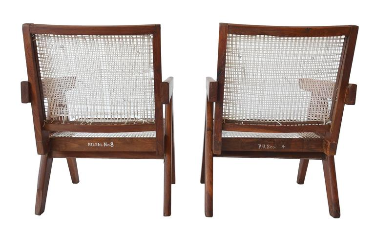 Pair of Pierre Jeannette Easy Lounge Chairs from Chandigarh, circa 1956 3