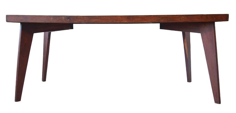 A very special early example of the dining table designed by Pierre Jeanneret for the Chandigarh Project. 