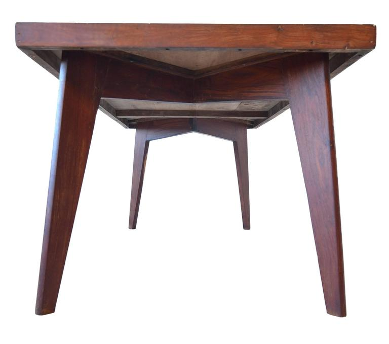 Exceptional Pierre Jeanneret Dining Table in Solid Sissoo Rosewood In Good Condition For Sale In Brooklyn/Toronto, Ontario