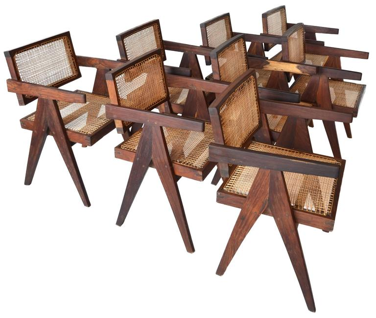 Mid-Century Modern Exceptional Set of Eight Sissoo Rosewood Armchairs by Pierre Jeanneret For Sale