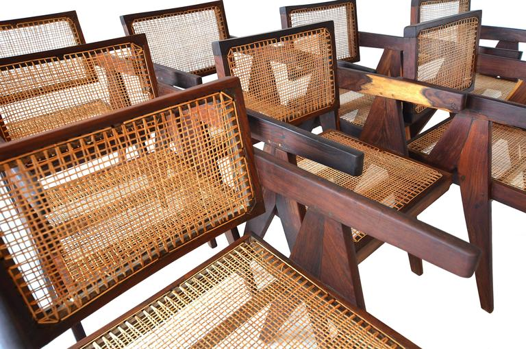 Exceptional Set of Eight Sissoo Rosewood Armchairs by Pierre Jeanneret For Sale 2