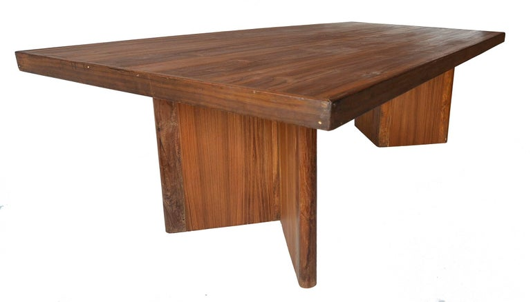 Mid-Century Modern Large Pierre Jeanneret PJ-TAT-08 Library Table in Teak Correct and Rare For Sale