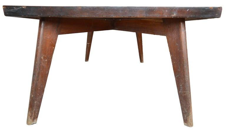 Indian Rare & Correct Large Pierre Jeanneret PJ-TA-01 Table for Chandigarh, circa 1960 For Sale