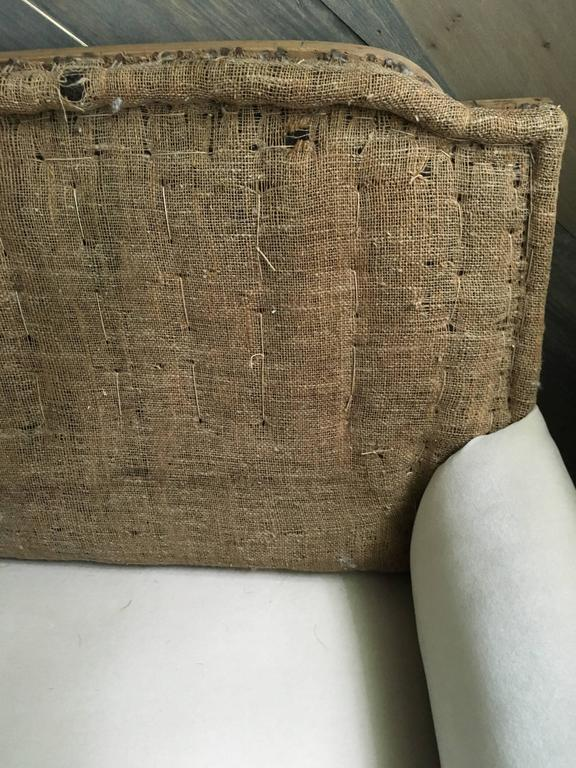 Burlap 19th Century French Settee For Sale