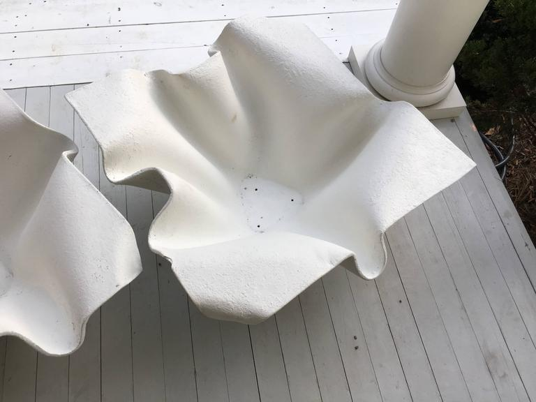 Beautiful pair of Willy Guhl fibre cement handkerchief planters. At some point they were painted green and then later white.