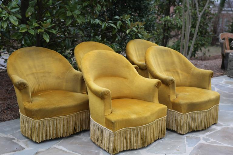 Antique French Chartreuse Velvet Salon Chairs In Fair Condition For Sale In Nashville, TN