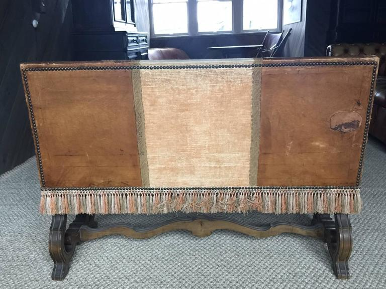 Petite Spanish Leather Walnut Bench with Fringe, Late 19th Century In Good Condition For Sale In Nashville, TN