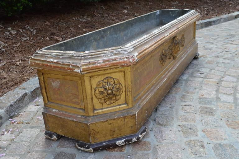 Very Large Carved and Gilded English Planter with Zinc Liner, circa 1850 4