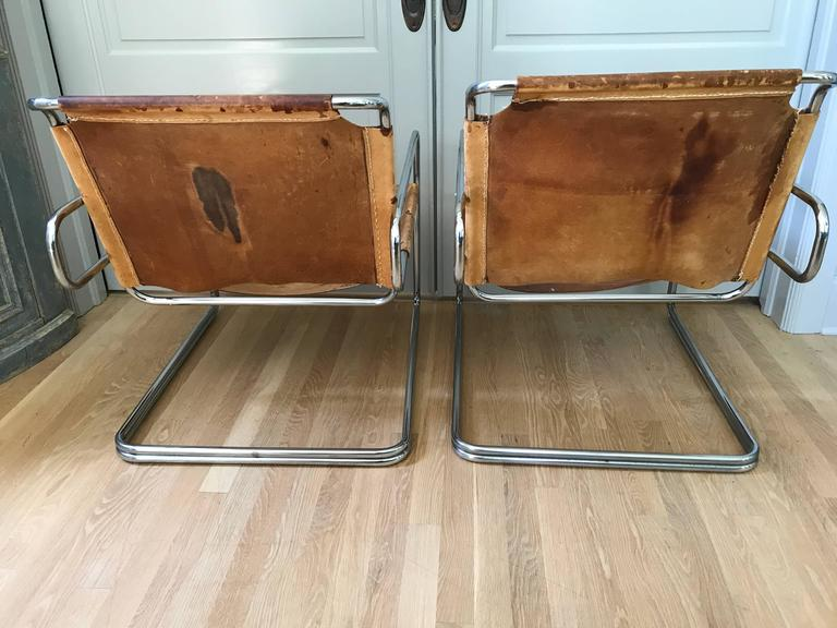 Mid-20th Century Pair of French Leather and Chrome Mid-Century Sling Chairs For Sale
