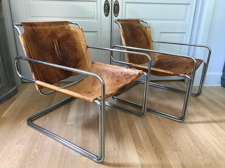 Pair of French Leather and Chrome Mid-Century Sling Chairs For Sale 3