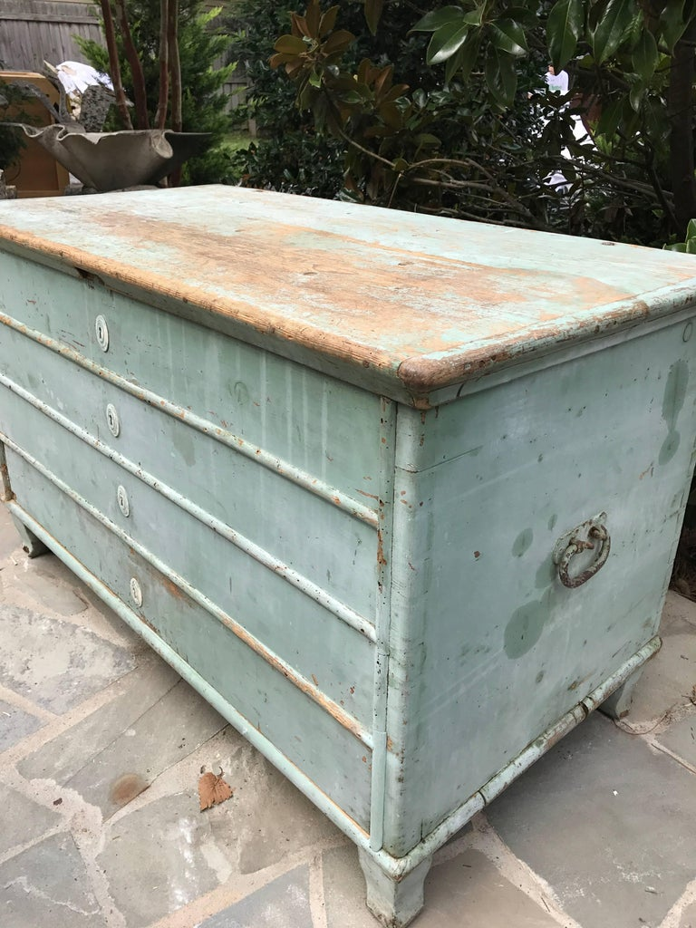 Blue Painted Swedish Chest 3