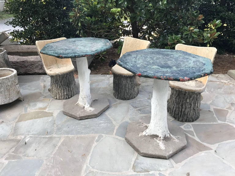Unique pair of Faux Bois tables from the South of France. Faux Bois (false wood) made by garden craftsmen in France called 'rocailleurs' was at its height in the late 19th Century. In 1870s Joseph Monier, a French gardener who invented ferrocement