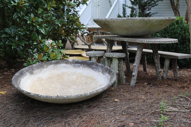 Pair of Giant Willy Guhl saucer planters from Sweden made from fibrated cement. Stamped and marked. May be purchased separately for $2750 each or as a pair for $5,000.