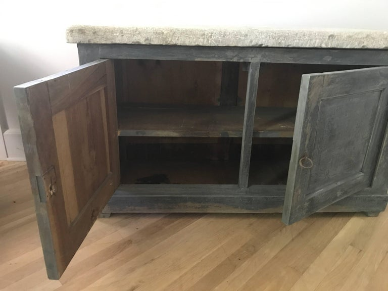 French Blue Cabinet with a Belgian Blue Stone Top In Good Condition For Sale In Nashville, TN