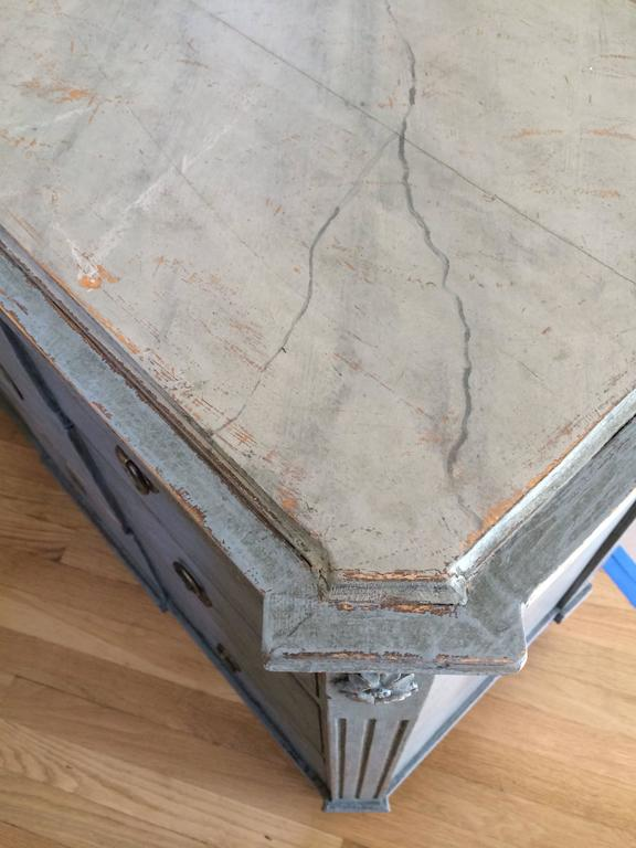 19th Century Gustavian Chest with Faux Marble Painted Top For Sale 5