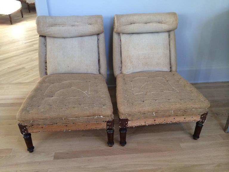 Lovely pair of 19th century French scroll back slipper chairs in original condition
