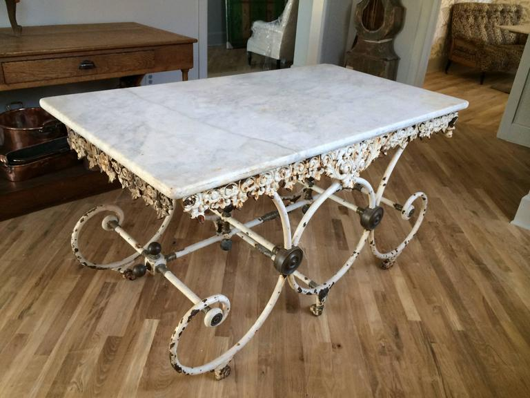French Butcher Table with Marble Top, circa 1880 For Sale 2