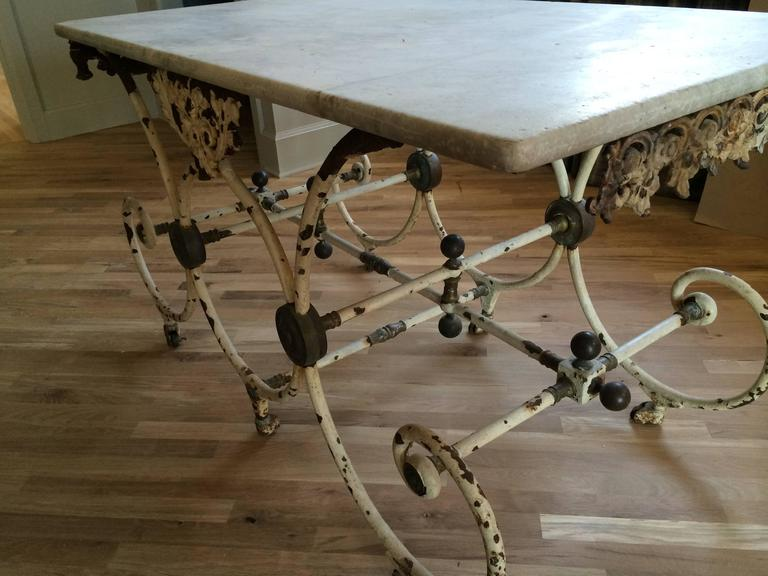 French Butcher Table with Marble Top, circa 1880 For Sale 1