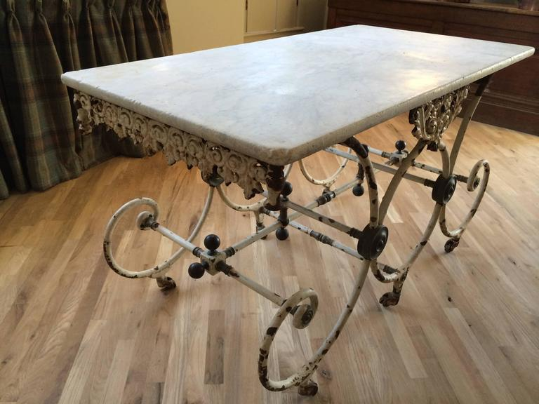 19th Century French Butcher Table with Marble Top, circa 1880 For Sale