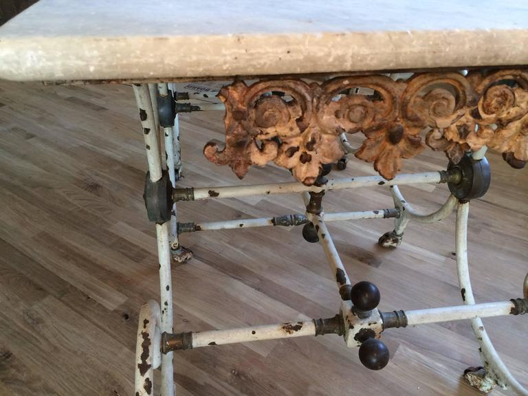 French Butcher Table with Marble Top, circa 1880 For Sale 3