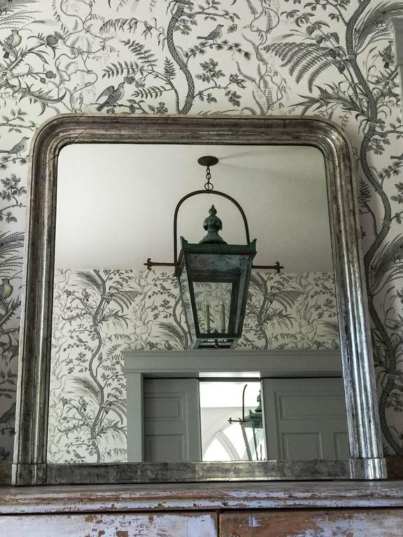 Large 19th Century Louis Phillippe Silver Gilt Overmantel Mirror For Sale 1