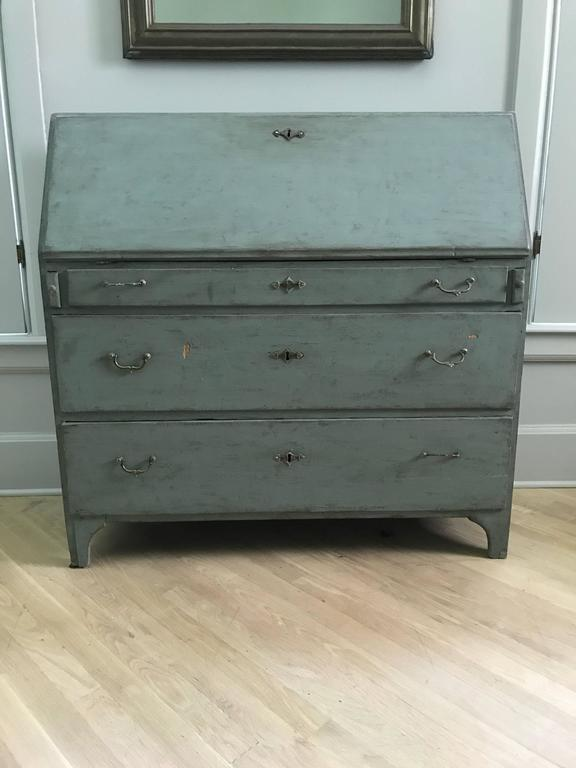 18th Century Swedish Drop Front Secretary with Faux Marble Painted Interior In Good Condition For Sale In Nashville, TN