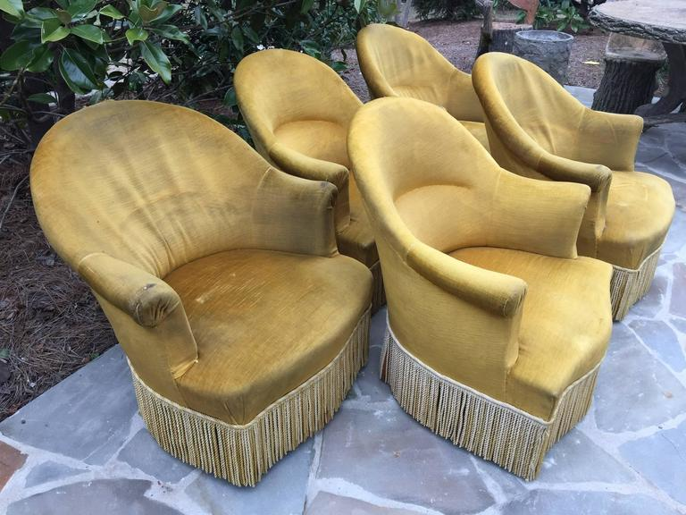 Antique French Chartreuse Velvet Salon Chairs For Sale 3