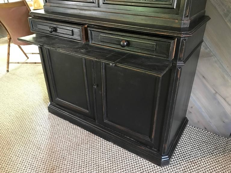 Pair of 19th Century Ebonized Louis Philippe Bookcases with Blue Interiors For Sale 3