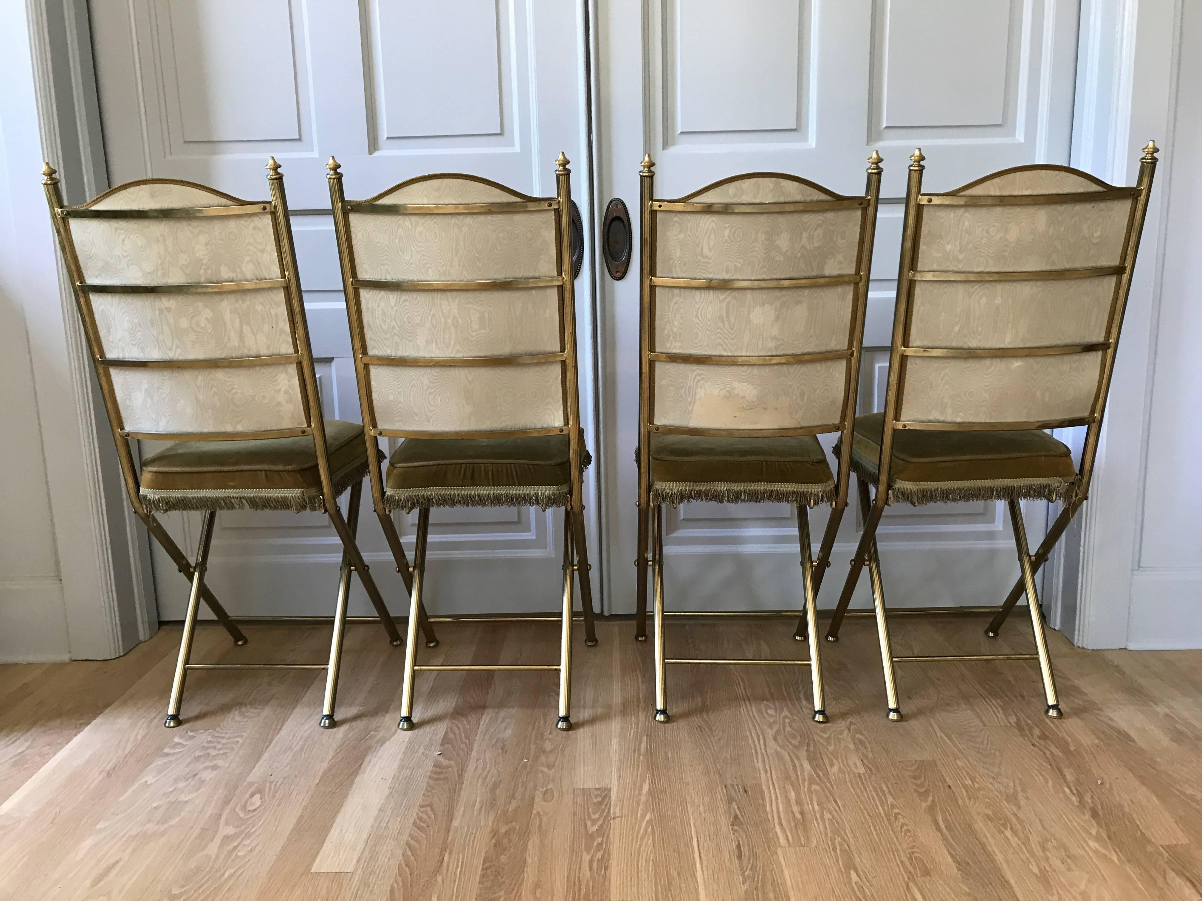 19th Century Chartreuse Velvet French Opera Chairs For Sale