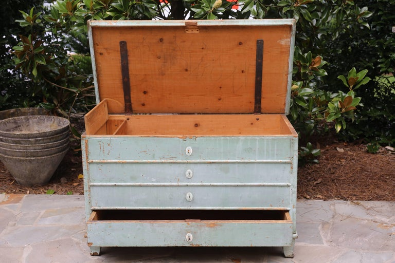 Blue Painted Swedish Chest 5