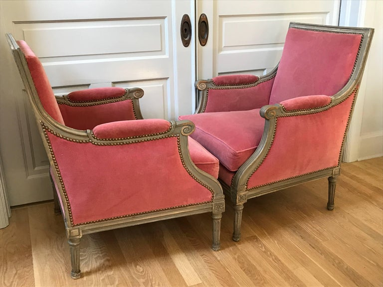 Pair of Velvet Louis XVI Bergère Armchairs 6