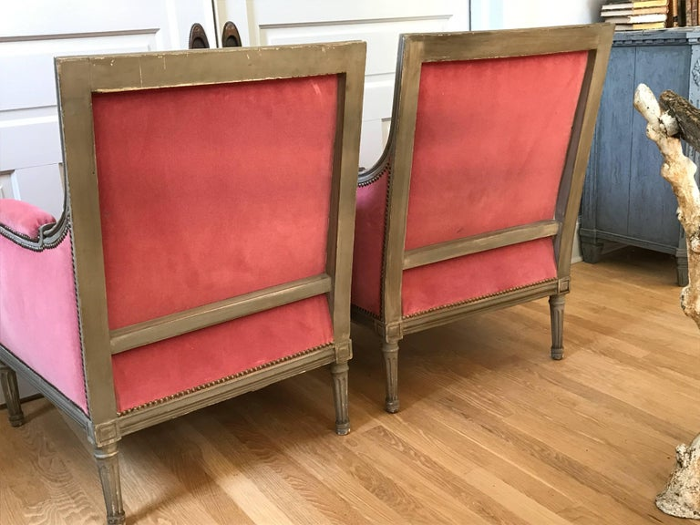 Pair of Velvet Louis XVI Bergère Armchairs 5
