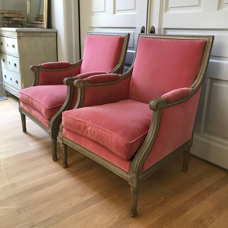 Pair of Velvet Louis XVI Bergère Armchairs 8