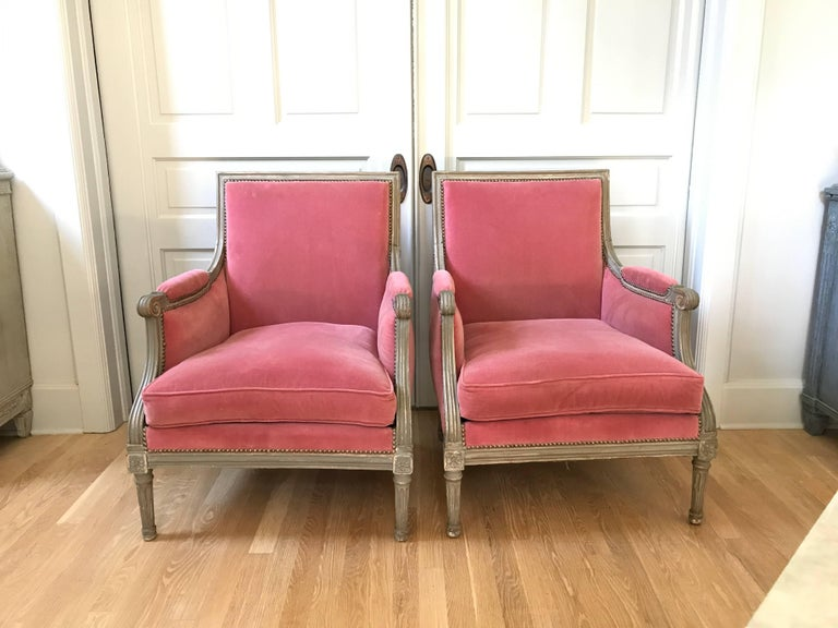 Pair of Velvet Louis XVI Bergère Armchairs 10