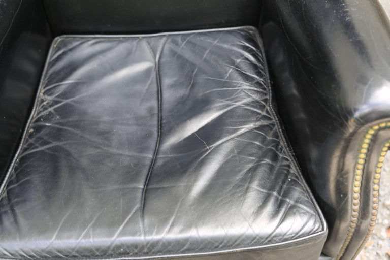 Pair of Black French Leather Wing Chairs 6