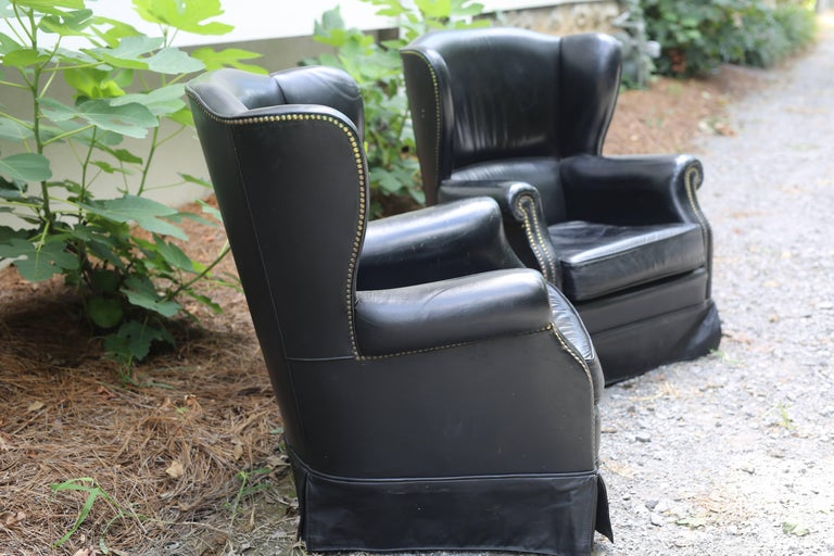 Pair of Black French Leather Wing Chairs 7