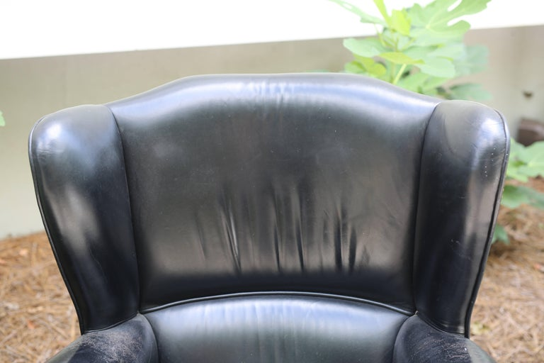 Pair of Black French Leather Wing Chairs 8