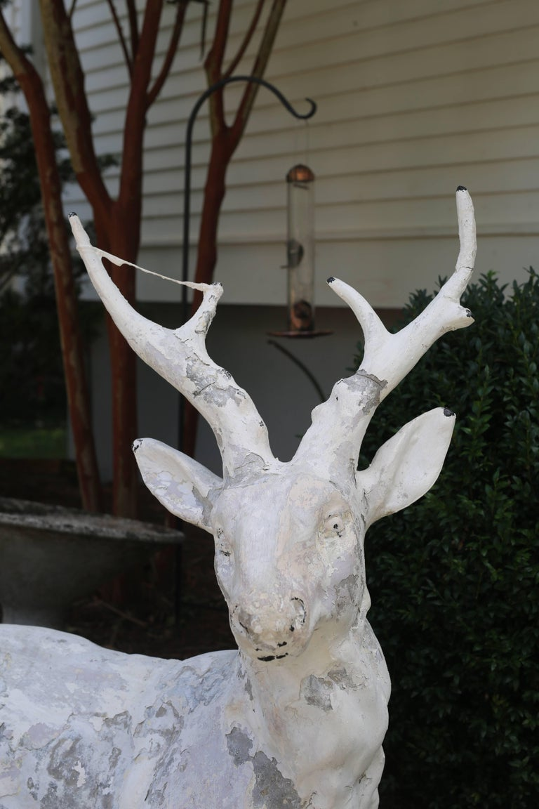 Late 19th Century Cast Stone Garden Deer  For Sale