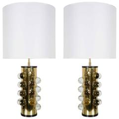 Pair of Cylindrical Brass Lamps by Papagni, Italy, circa 2000