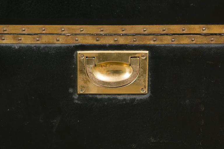 Attractive Pair of Leather and Brass Trunk Tables For Sale 3