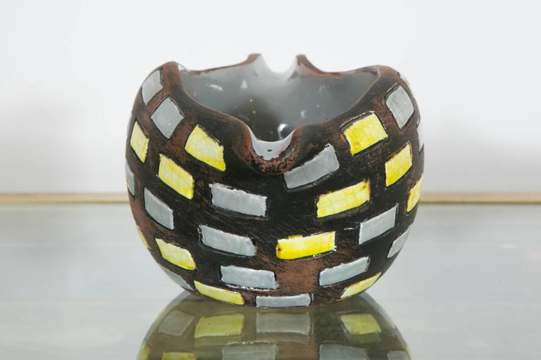 Late 20th Century Glazed Ceramic Bowl by Raymor, Italy, 1970s For Sale