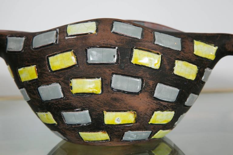 Italian Glazed Ceramic Bowl by Raymor, Italy, 1970s For Sale