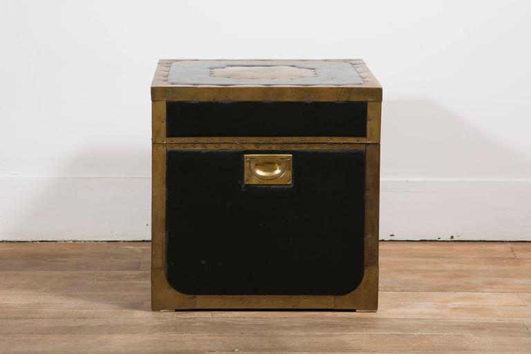 Mid-20th Century Attractive Pair of Leather and Brass Trunk Tables For Sale