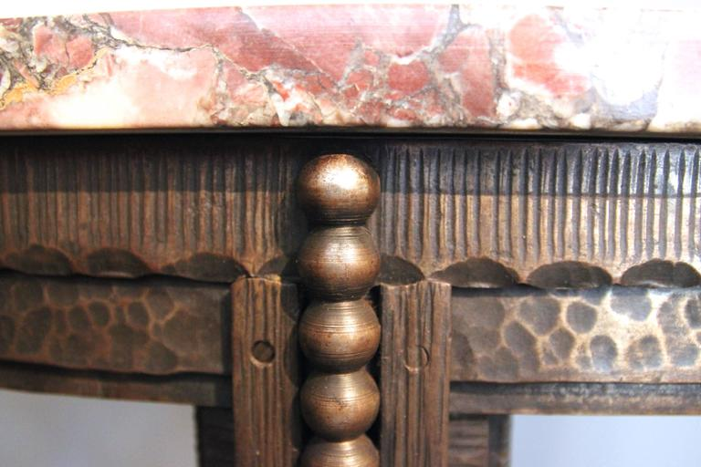 Style Edgar Brandt, Console, Iron and Marble, circa 1925, France In Good Condition In Nice, Cote d' Azur