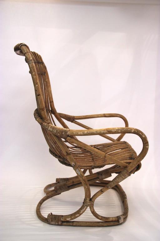 Pair of armchairs, bamboo, circa 1970, Italy. Height: 102 cm seat height: 41 cm, width: 61 cm, depth: 80 cm.